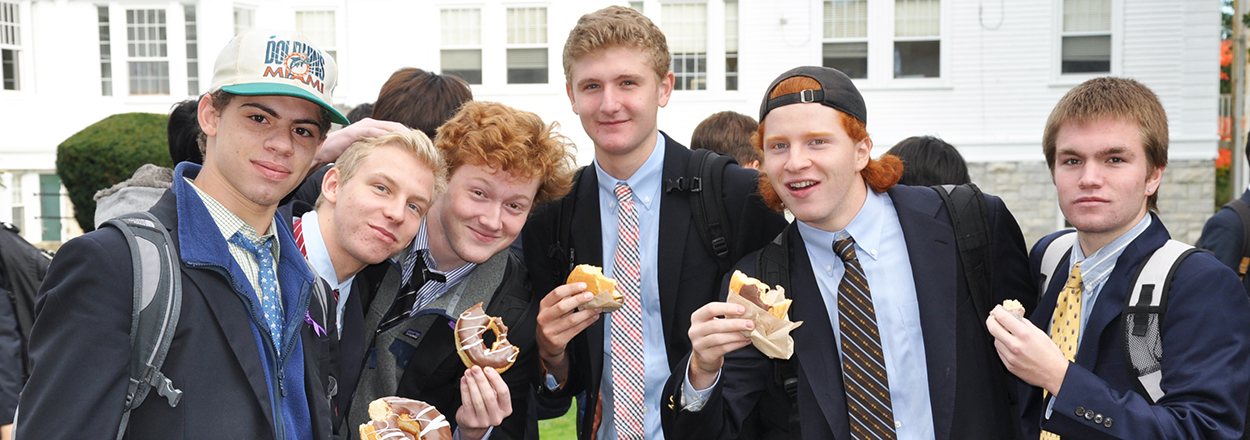 Boys at Salisbury High School with Donuts